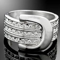 Mexican belt ring jewelry - italina top sale K white gold plated stone Austrian crystal Swarovski Elements party Belts style men women pretty Ring jewelry