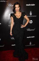 Cheap 2014 free shipping high quality black Kim Kardashian Golden Globe Awards Cap Sleeves V Neck Lace Mermaid Celebrity Dresses