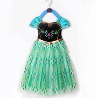 Frozen Elsa Anna Girl' s Costume dresses tulle Short sle...