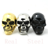 Wholesale Golden Silver Black Big Skull Ring L Stainless Steel Man Boy Fashion Jewelry Band Party Top Selling Popular Skull Ring