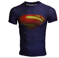 Wholesale Men s UA Armour Brand Superman Batman Alter Ego Heatgear COMPRESSION Stretchy Short Sleeves Galaxy T Shirts with Retail Package