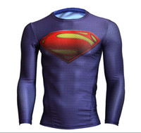 Wholesale Men s UA Armour Brand Superman Alter Ego Heatgear COMPRESSION Stretchy Long Sleeves T Shirts with Retail Package