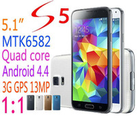 Wholesale In Stock clone S5 note3 i9600 G900F Mobile phone inch MTK6582 Quad core RAM GB ROM GB Android G GPS MP phones
