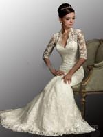 Wholesale Cheap New Sexy Designered V Neck Long Sleeves Mermaid Lace Stunning Wedding Dresse