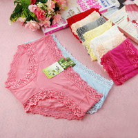 Wholesale High Quality Bamboo Fiber Women Panties Sexy Lace Ladies Underwear Briefs Mix Colors