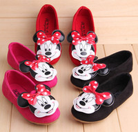 Wholesale Minnie Mice Autumn Child Kids Shoes Girls Girl PU Bowknot Round Toe Slip On Princess Soft Sole Shoe pairs Red Rose Black T K0621