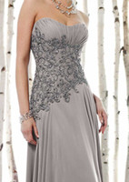 mother of the bride sequin dresses - Gray Column Mother of the Bride Dresses Strapless Embriodery Beads Sequins Long Ploeats Chiffon Party Gowns Custom Made