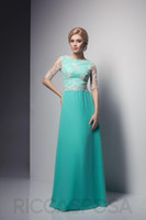 Reference Images Chiffon Ruffle Charming 2015 Baby Blue Jewel Chiffon Lace Floor Length Half Sleeve Bridesmaid Dresses