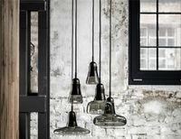 85-265V glass dining room - Modern brief shadows led crystal glass cord pendant light smoke gray White dining room Bar chandeliers light