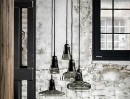 Modern brief shadows led crystal glass cord pendant light smoke gray White dining room Bar chandeliers light