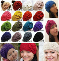 Wholesale Women s Fashion Wool Crochet Headband Knit Hair band Flower Winter Ear Warmer Color