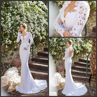 Trumpet/Mermaid Reference Images V-Neck 100% Top Quality Wedding Dress Mermaid Court Train Long Sleeve V-Neck Wedding Gown White Stretch Satin Lace Applique Bridal Dresses W148724