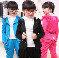 Girl Spring / Autumn  children clothes 2014-2015 fall autumn cute cartoon girls sports solid kids clothing suit +harem pants 2pcs suits sets,4sets lot,dandys