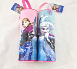 Wholesale Hot Sell Frozen Elsa Anna Kids Pencil Bag Children Boys Girls Study Stationery Cylinder Shape Pen Bags Good Quality Cartoon Bags H1200