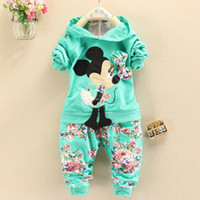 Spring / Autumn sport hoodies - 2014 Spring Autumn baby girls Sport suit set Mickey Mouse long sleeve children hoodies sets hoodies pants kids clothing set