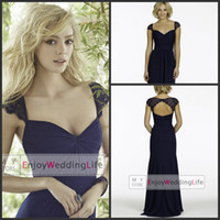 Lace navy blue bridesmaid dresses - 2014 Navy Blue Chiffon Bridesmaid Dresses Lace Cap Sleeves Ruffles Keyhole Back Formal Evening Party Gowns JH5427