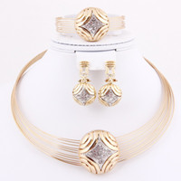 Wedding Jewelry Sets Celtic Gift Wholesale! African Fashion Gold Plated High Quality Star Shape Elegant Costume Necklace For Wedding Bridal Costume Jewelry Set