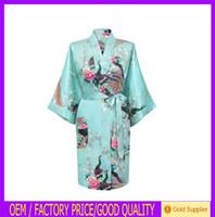 Wholesale SP009 Short Peacock kaftan abaya Nightdress Japanese Kimono Robe bathrobe Dressing Gown Z
