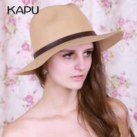 Wholesale Women Lady Cashmere Hat Summer Beach Sun Cap Black Vogue Wide Brim Hats With Plush Ball Cheap Online