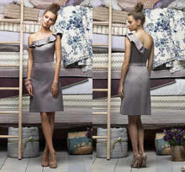 Wholesale 2014 New Silver Gray One Shoulder Petal Short Sleeve Satin A Line Knee Length Zipper Back Bridesmaid Dresses Elegant Weman Formal Dresses
