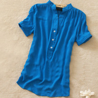 Wholesale New Fashion Womens Summer Chiffon Shirt Silk Loose Blouses For Women Blouses Shirts E0063