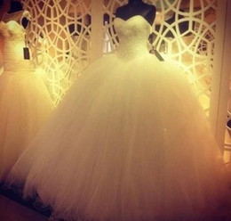 Wholesale 2015 Ball Gown Wedding Dresses Sweetheart Beading Tulle Lace Floor Length Amazing Simple Bridal Gowns BO5701