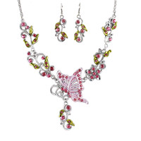 Wholesale New Fashion Colorful Enamel Drop Earrings And Statement Necklace Jewelry Sets For Women