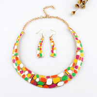 Wholesale New Fashion Colorful Enamel Drop Earrings And Choker Necklace Jewelry Sets For Women