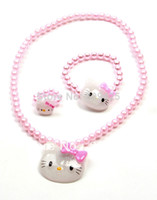 Wholesale 2014 New Promotion Freeshipping Trendy hello Kitty Jewelry Cheap hello Set hello for Kids with Gift set