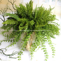 Wholesale 4 Types Lifelike Artificial Rustic Fresh Green Leaves Bush Fern Grass Plant Home Decorative Plants Party Decoration