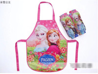 Wholesale Hot Sell Frozen Elsa Anna Kids Flowers Apron With Oversleeve Snow Queen Children Girls Cooking Suppliers Good Quality Kitchen Aprons H1202