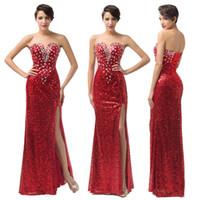 Model Pictures grace karin - Grace Karin New Sexy V neck Split Sequins Evening Dresses Long A Line Red Formal Prom Dress Gown CL6102