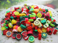 Bead Caps Fashion Beads Free Shipping 200Pcs Mixed Style Color Polymer Clay Crafts Sliced Fruit Scrapbooking Beads Clay Decoration 10mm (W02355)