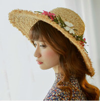 Wholesale Handmade Flowers Fashion Women s Ladies Foldable Wide Large Brim Floppy Summer Beach Hat Sun Straw Hat Cap Ladies Hats Different Flowers
