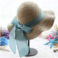 Wide Brim Hat light blue sky Yarn Dyed cheap Fashion Stylsih Women Summer Hats Cap floppy Wide Large Brim Summer Beach Sun Hat Straw Beach caps with bow