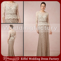 Wholesale 2014 Gorgeous Lace Mother of the Bride Dresses Champagne Brown A Line Crew Neck Long Sleeves Floor Length Formal Wedding Guests Gowns