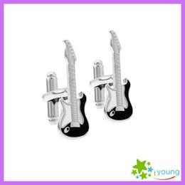 Novelty Guitar Shape Cuff Links Black Enamel Cufflink Sleeve Nail Wedding Shirt Buttons White Steel Plated Jewelry