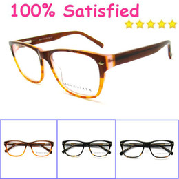 Wholesale hot sale special offer pure hand made design black rectangle acetate optical frame female male myopia eyeglasses B4007