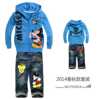 Wholesale autumn boys sets mickey mouse minnie mouse clothing children hoodies jeans baby boy clothing sets boys tracksuits