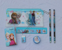 Wholesale Free send Wallet Kids learn item Frozen stationery set for Students Office School Supplies Frozen Pencil Cases Frozen Bags Ruler Pencils