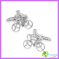 bicycle cufflink - Novelty Bike Bicycle Model Cuff Links Plain Smooth Metal Cufflink Sleeve Nail Male Suit Shirt Buttons Groomsmen Wedding Dress Party