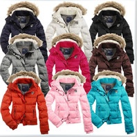 Cheap 2014 Winter Warm down parka brands Women Short Design Slim down jacket with fur hood Outerwear