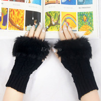 Wholesale 10pcs Women Winter Knitted Fingerless Faux Rabbit Fur Wrist Hand Warmer Gloves Mitten fx269