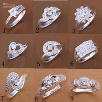Wholesale 8 Size New Fashion Silver Solitaire Ring Jewelry Unsex Finger Rings Circle Rings Crystal diamond Rings Good Xmas Gift Hot