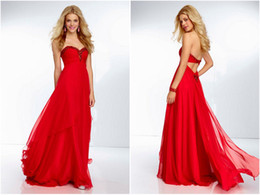 Wholesale Sexy Chiffon Beaded Long Prom Dresses Backless Evening Gown Formal Pageant Party Maix Sweetheart Neckline Clothing Sleeveless Full Length ZJ
