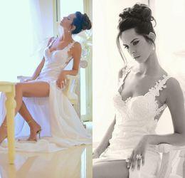 Wholesale New Sexy Custom Limor Mesika Bridal Gown Vintage Spaghetti Strap Lace Applique Split Plus Size Backless Wedding Dresses Beach DL1313110