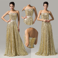 Model Pictures A-Line Strapless Long Shining Sequins Strapless Sleeveless Golden Formal Evening Gown Prom Party Dresses 8 Sizes US2~US16 CL6103