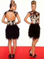 High Neck black and white prom dresses - New Fashion Sheath White And Black Feather Short Prom Dresses High Neck Appliques Lace Capped Sleeve Sexy Backless Graduation Dresses