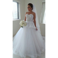 Ball Gown Reference Images Sweetheart Charming Sweetheart Backless Lace Wedding Dresses Peplum Ball Gown Floor-Length Formal Prom Bridal Gowns Custom Made Plus Size 2015