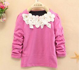 Wholesale 2014 hot autumn girls clothing Fashion t shirt children long sleeve T shirt fall kids cute cotton tees with white flower J080704